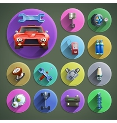 Car repair cartoon icons set vector