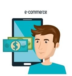 Cartoon man smartphone e-commerce isolated design vector