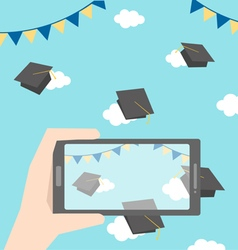 celebrations of graduation with smartphone vector image vector image