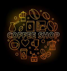 Coffee shop round golden on vector