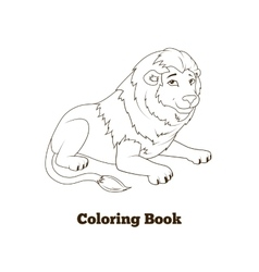 Coloring book lion african animal cartoon vector
