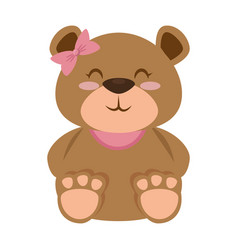 Cute bear teddy female vector