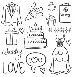 Doodle of element wedding design vector