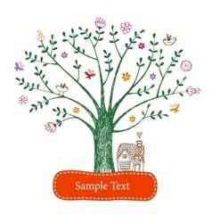 Easter greeting card with tree vector image