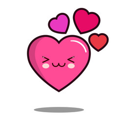 Emoticon cute love heart cartoon character icon vector