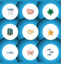 Flat icon sea set of cancer medusa tuna and vector