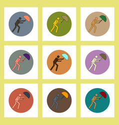 Flat icons set of man with umbrella in storm vector