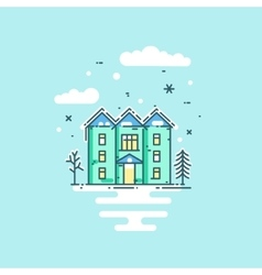 Flat line with house trees vector