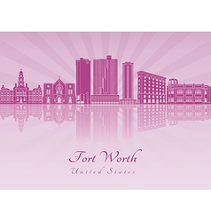 Fort worth skyline in purple radiant orchid vector