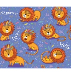 Funny lions seamless pattern with purple vector