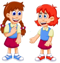 funny two female student talking vector image vector image