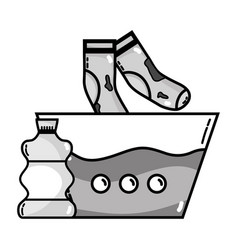 Grayscale water pail and dirty socks with bleach vector
