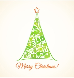 Green Christmas tree made of the handprints vector image vector image