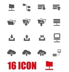 Grey ftp icon set vector