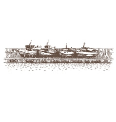 Hand drawn boats vector image vector image