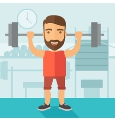 Handsome man lifting a barbell vector image