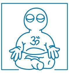 Little man in meditation vector
