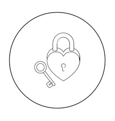 lock and key icon in outline style isolated on vector image