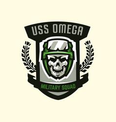 logo emblem military theme skull helmet vector image