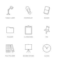 Office tools outline icons vector image vector image