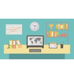 Office workspace interior flat vector