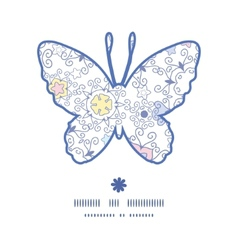 Ornamental abstract swirls butterfly silhouette vector