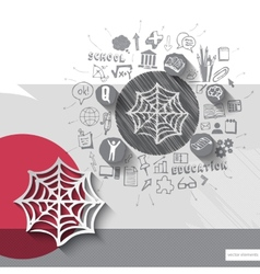 Paper and hand drawn net emblem with icons vector