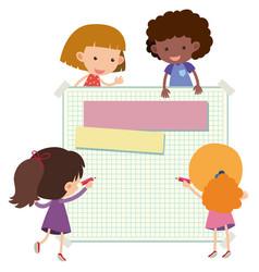 Paper template with happy children vector