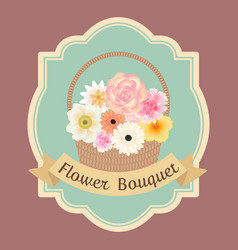 Pastel colorful flowers bouquet in basket with vector