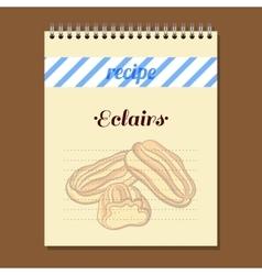 Recipe book eclairs vector