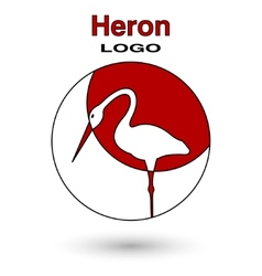 Round logo heron on a background of the sun vector