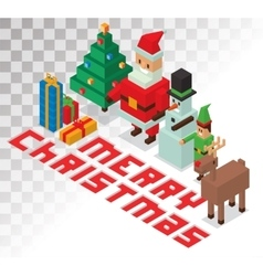 Santa missis claus helpers family isometric 3d vector