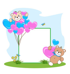 Teddy bear with heart frame vector