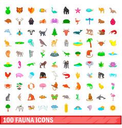 100 fauna icons set cartoon style vector