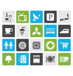 Flat hotel and motel objects icons vector