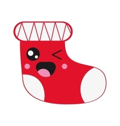Kawaii christmas stocking icon vector