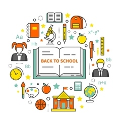 Back to school line art thin icons set vector