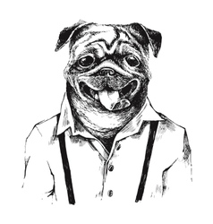 Hand drawn dressed up pug in hipster style vector