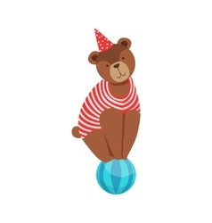 Circus bear animal artist in stripy body suit vector