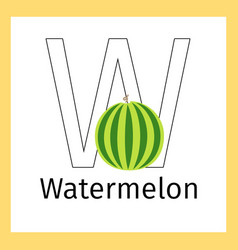 Watermelon and letter w coloring page vector