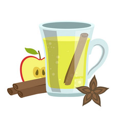 Apple cinnamon and anise smoothie non-alcoholic vector