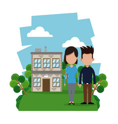 couple modern house garden vector image