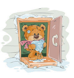 brown teddy bear standing on the porch of vector image