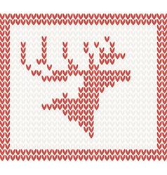 Christmas knitted background with deer vector
