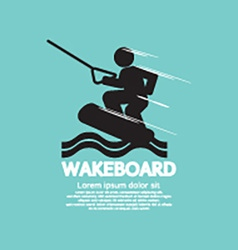 Wakeboard player symbol vector
