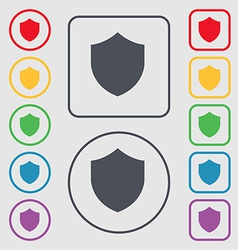 Shield protection icon sign symbol on the round vector