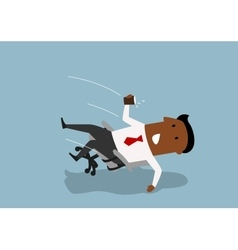 Black businessman fall backwards in an chair vector