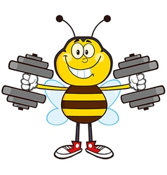 Bumble bee cartoon with dumbbells vector