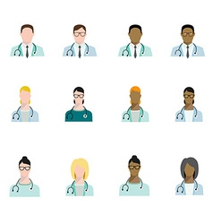 Set of doctor avatars profession basic characters vector