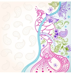 Oriental phoenix on floral ornaments vector